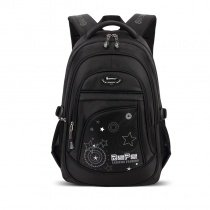 Black and White Polyester Boys Pupil School Book Bag Glow in the Dark Star Circle Monogrammed Print Kids Campus Backpack