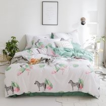 Fancy Black White Green and Pink Zebra and Flamingo Print Animal Themed Unique Full, Queen Size Bedding Sets