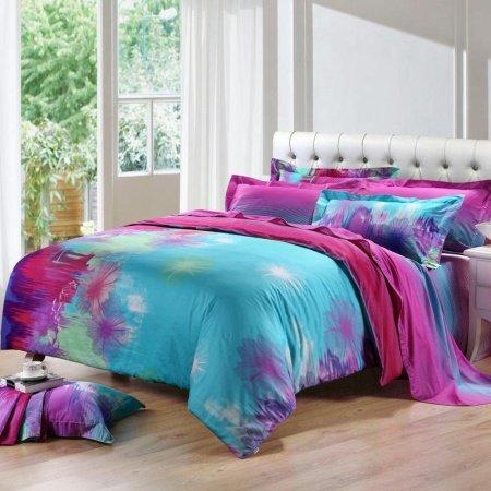 Sky Blue Purple And Hot Pink Taraxacum Dandelion Print