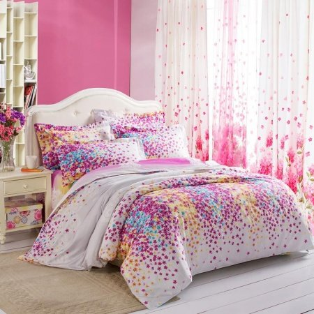 Purple White Yellow and Blue Lilac Floral Print Full, Queen Size Durable Toile Bedding Sets for Girls