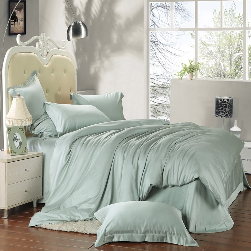 Solid Light Green Pure Color Simply Shabby Chic Full, Queen Size 100% Tencel Lyocell Bedding Sets