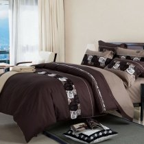 Black White and Brown Autumn Leaf Print Simply Modern Chic 5 Star Hotel Style 100% Cotton Full, Queen Size Bedding Sets