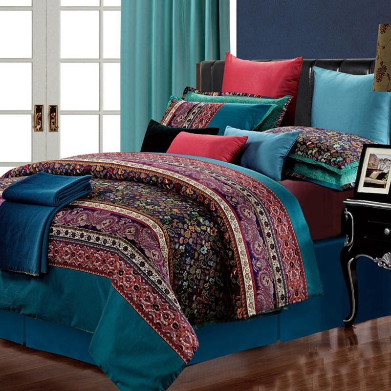 Blue Red And Purple 3000 Thread Count Luxury 100 Egyptian