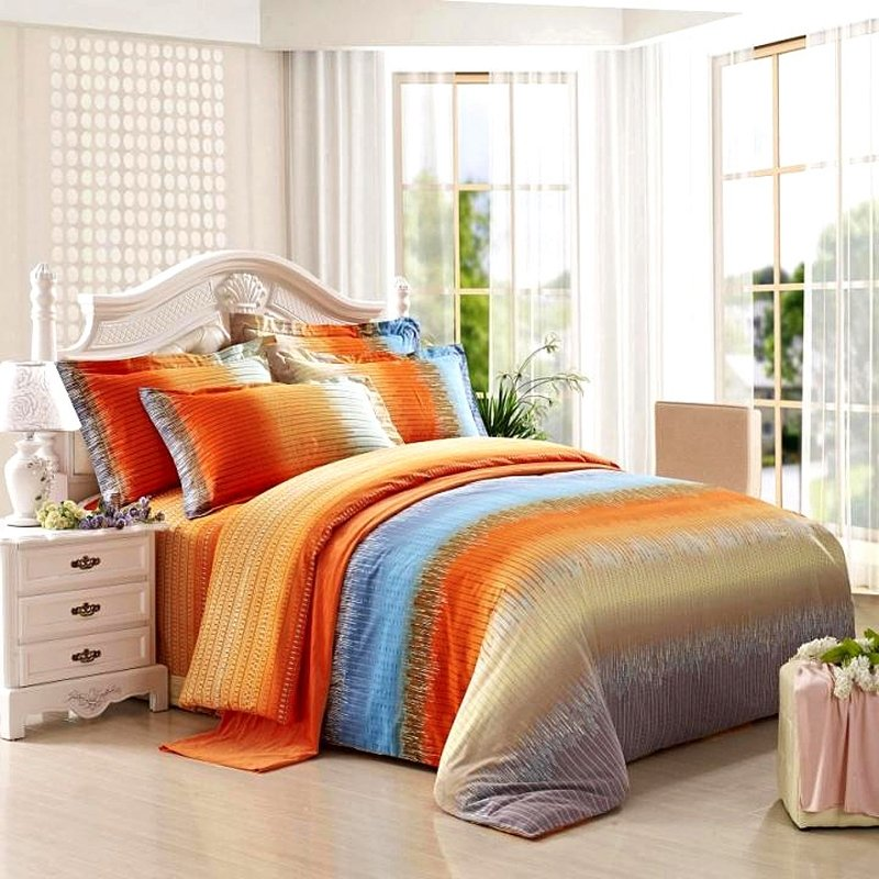 Funky Bright Orange Grey And Aqua Blue Ticking Stripe Print Full, Queen  Size 100% Brushed Cotton Bedding Sets