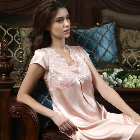 Womens Gorgeous Sexy Lace Princess V-neck Short Sleeve 100% Chinese Silk Sleepwear Set