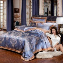 Tan and Deep Blue Gorgeous and Classic Western Royal Tribal Print Retro Full, Queen Size Bedding Sets