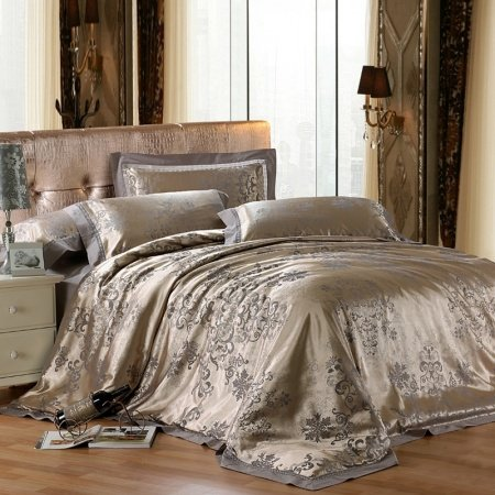 Grey Jungle Safari Themed Vogue Traditional Western Vintage Chic Jacquard Design Full, Queen Size Bedding Sets