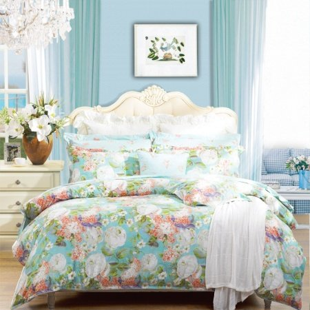 Green Blue White and Pink Country Chic Jungle Safari Themed Vintage Flower Print Full, Queen Size Bedding Sets