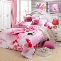 Pink Rose Romantic Love Heart Cute and Elegant Chic Girls Full, Queen Size Bedding Duvet Cover Sets
