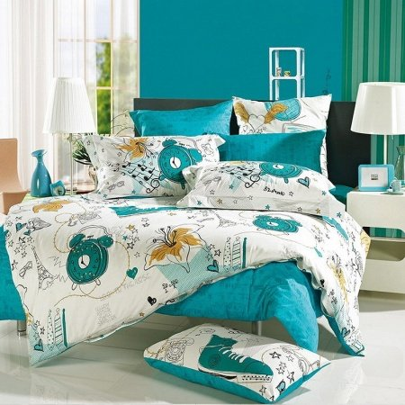 Teal Blue and White France Paris Themed Eiffel Tower and Star Print 100% Cotton Full, Queen Size Bedding Sets