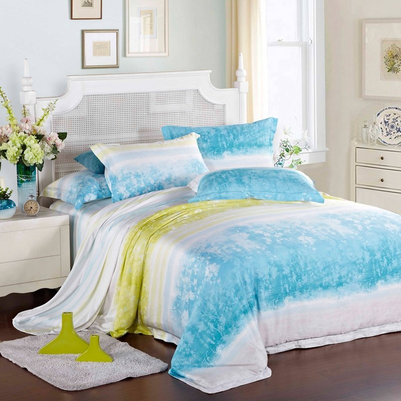 Aqua Blue Yellow and White French Country Floral and Stripes 100% Modal Tencel Lyocell Full, Queen Size Bedding Sets