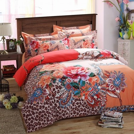 Brown Orange and White Jungle Animal Sexy Leopard Print and Bohemian Paisley Pop 100% Brushed Cotton Full, Queen Size Bedding Sets