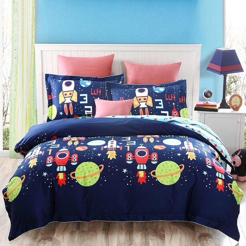 Deep Blue And Colorful Boys And Girls Cartoon Rocket And