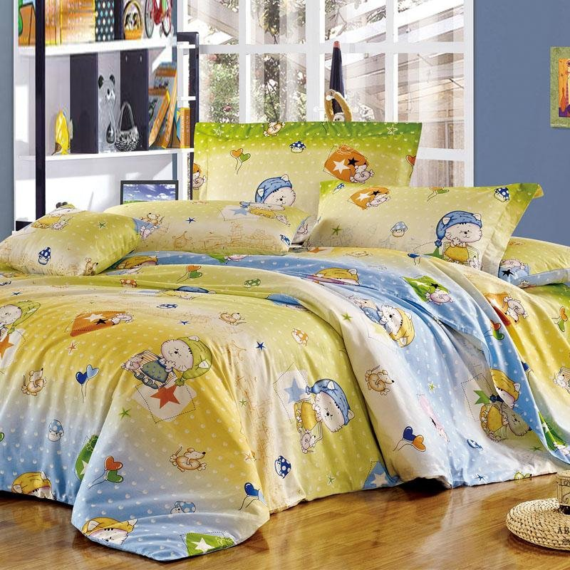 Carolina Blue Pale Yellow and Green Cute Animal Themed Cat and Mouse Print with Polka Dot Design Full Size Kids Bedding Sets for Girls, Boys