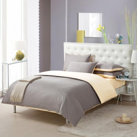 Dark Grey and Gold Solid Pure Color Simply Shabby Chic Full, Queen Size 100% Cotton Bedding Sets