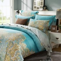 Aqua Blue and Yellow Western Paisley and Personalized Bohemian Chic Tribal Print 100% Modal Tencel Lyocell Full, Queen Size Bedding Sets