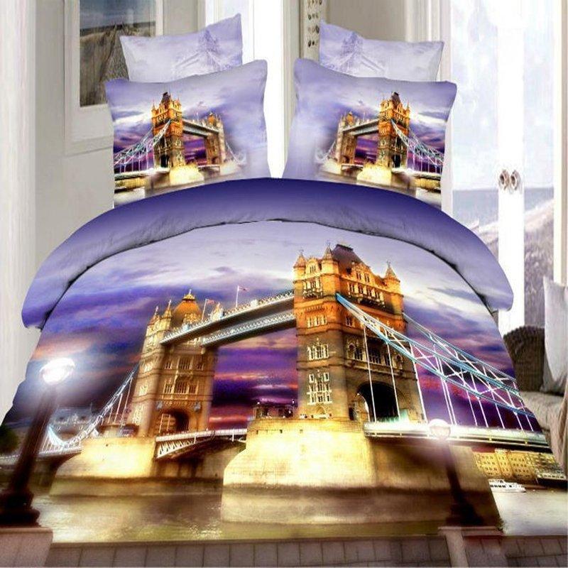 Violet Purple and Rust Orange London Bridge Print City Scene Modern Chic Full Size 3D Design Bedding Sets