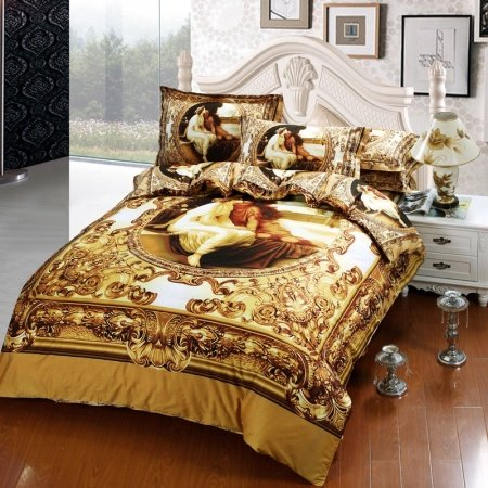 Gold White and Brown Sexy Adam and Eve Girls Print with Vintage Chic Floral Full Size Wedding Themed Bedding Sets