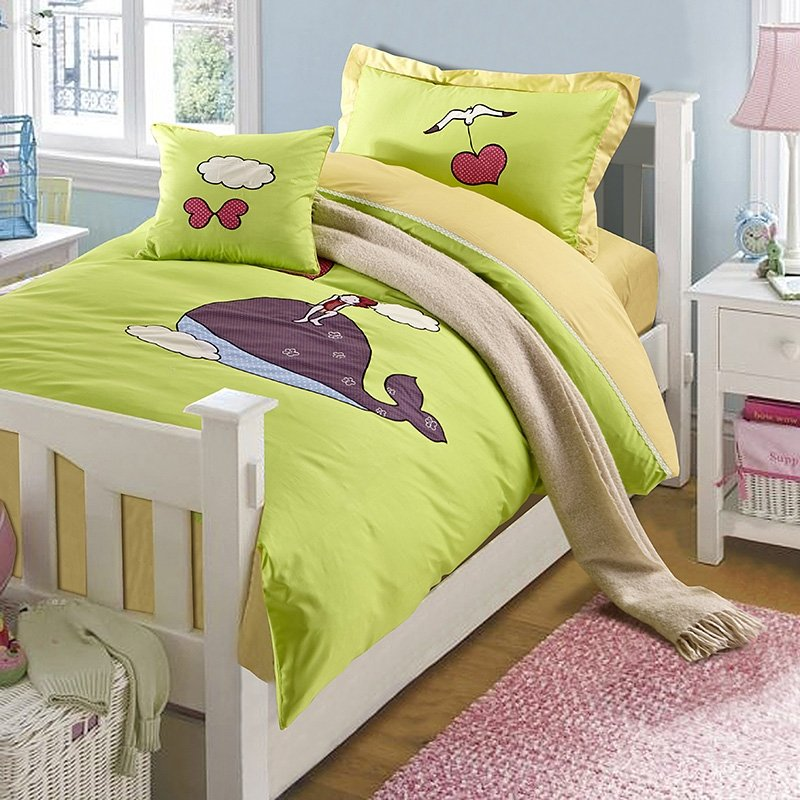 Coffee and Lime Green Whale Print Jungle Safari Cartoon Animal Cute Style Girls and Boys 100% Cotton Full Size Bedding Sets