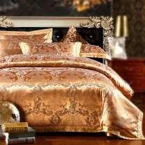 Gold Luxury and Noble Classic Royal Tribal Baroque Style Western Jacquard Design Full, Queen Size Bedding Sets