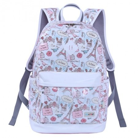 Pink Canvas White Leather Trim Vogue Paris Themed Eiffel Tower and Graffiti Print School Backpack Durable Sewing Pattern Travel Bag