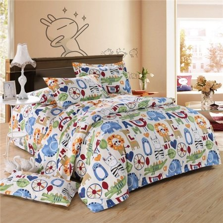 Orange Blue and White Colorful Zoo Park Jungle Animal Lion, Elephant, Crocodile Print Teen Girls and Boys Full, Queen Size Bedding Sets