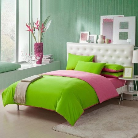 Lime Green and Pink Solid Pure Color Simply Shabby Chic Girls Princess Full, Queen Size Bedding Sets