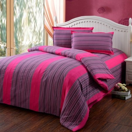 Hot Pink and Damson Purple Vertical Stripe and Pinstripe Print Vintage Shabby Chic Warm Color 100% Cotton Satin Full, Queen Size Bedding Sets