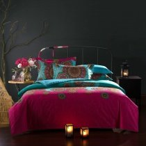 Peacock Blue and Garnet Red Tribal Print Circle Pattern Exotic Indian Pattern Gypsy Themed Unique 100% Cotton Full Size Bedding Sets