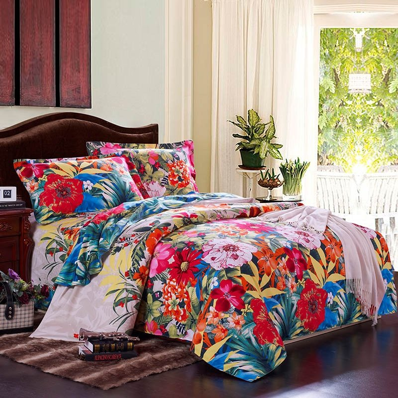 Peacock Blue Orange and Red Colorful Flower Country Garden Tropical Hawaiian Style 100% Brushed Cotton Full, Queen Size Bedding Sets