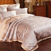 Camel and Grey Tribal Print Gothic Pattern Sequin Retro Style Royal Prince Luxury Satin Jacquard Design Full, Queen Size Bedding Sets