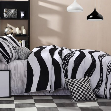 Black and White Luxury Zebra Stripe Print Contemporary Simply Abstract Design Boys, Adult 100% Cotton Damask Full, Queen Size Bedding Sets