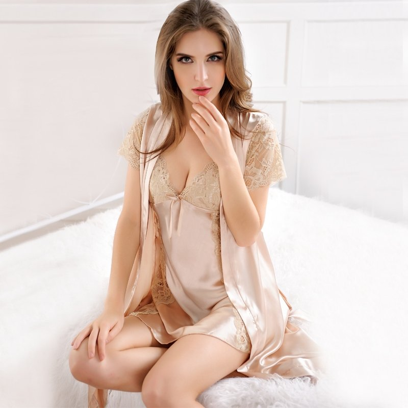 Solid Champagne Sexy Seductive Lace Hollow Out 2 Piece Soft Imitated Silk Women V-neck Short Sleeve Skirt Night-Robe Noble Slimming Pajamas