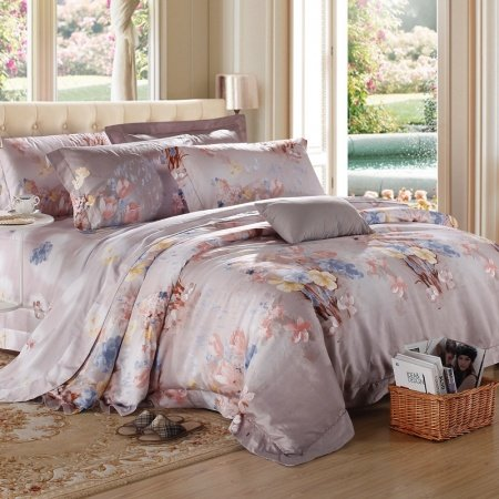 Grey Pink and Yellow Vintage Floral Print Plant Country Chic Luxurious Nature 100% Egyptian Cotton Full, Queen Size Bedding Sets