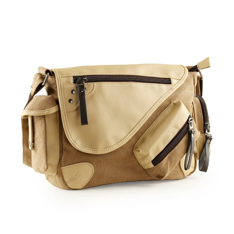 Camel Brown and Buff Brown Canvas Leather Men 14 Inch Laptop Bag Casual Vogue Contracted Korean Sport Style Take Cover Zipper Crossbody Bag