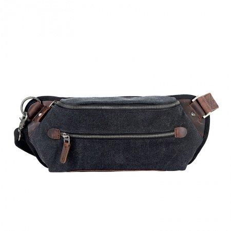 Black Canvas Leather Personalized Casual Travel Chest Bag Retro Boutique Zipper Boys Men Small Pillow Shaped Single Shoulder Crossbody Bag