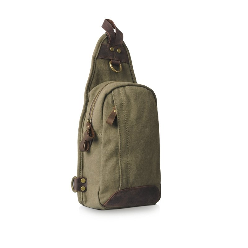 Army Green Retro Korean Style Durable Canvas Crossbody Bag Amazing Trendy Casual Travel Bag Zipper Sewing Pattern Unisex Small Chest Bag