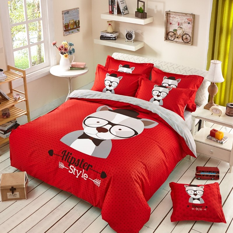 Red Gray and White Cartoon Dog Print Fashion Hipster Style Warm Color Personalized Teen 100% Cotton Twin, Full Size Bedding Sets
