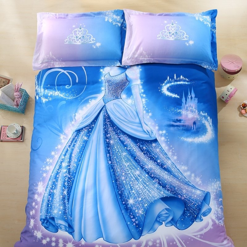 Ice Blue and Lavender Dress Print Crown Princess Style Fantasy Themed 3D Design Sequin Girls 100% Cotton Damask Twin, Full Size Bedding Sets