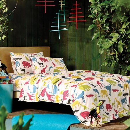 Lime Yellow Red and Blue Colorful Hippie Style Jungle Animal Zoo Park Safari Themed Girls 100% Cotton Damask Twin, Full Size Bedding Sets