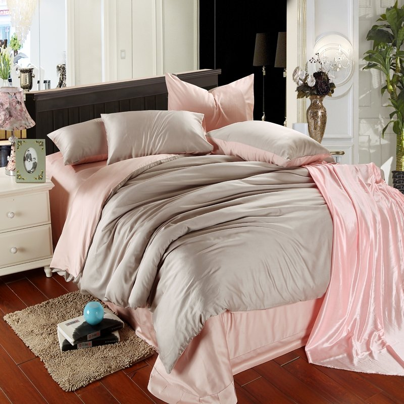 Plain Colored Light Pink and Grey Color Block Simply Chic Noble Excellence Luxury Girls 100% Tencel Full, Queen Size Bedding Sets