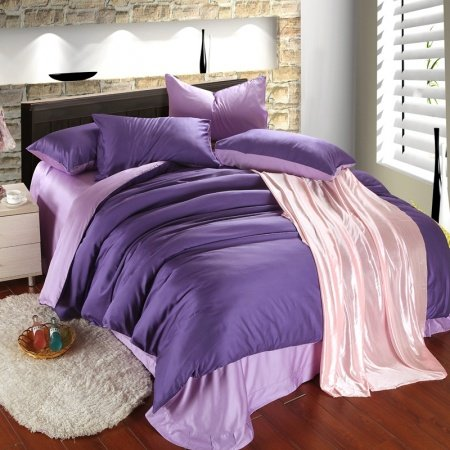 Plain Colored Violet and Light Purple with Solid Colored Sheet Simply Chic Unique Adult 100% Tencel Full, Queen Size Bedding Sets