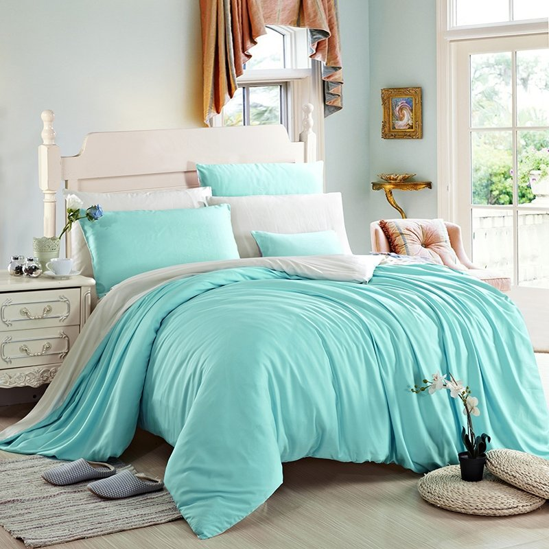 Plain Turquoise and Solid Beige Noble Excellence Luxury Simply Chic Personalized 100% Tencel Full, Queen Size Bedding Sets