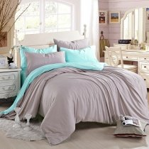 Pure Turquoise and Plain Thistle Retro Style Noble Excellence Luxury Color Block Western Style 100% Tencel Full, Queen Size Bedding Sets