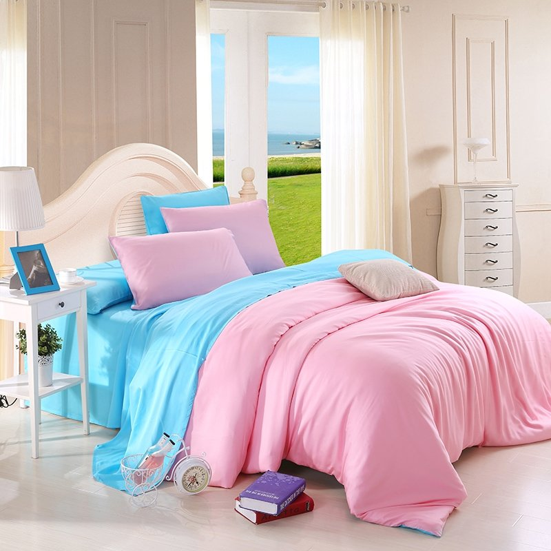Plain Pink and Acid Blue Cute Style Simply Chic Fashion Noble Excellence Luxury Expensive Microfiber Tencel Full, Queen Size Bedding Sets