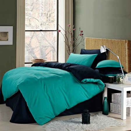 Turquoise and Dark Blue Pure Color Simply Chic Shabby Chic Retro Style Reversible Microfiber All Cotton Mens Full, Queen Size Bedding Sets