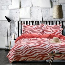 Vermilion and White Abstract Design Zebra Stripe Print Shabby Chic Personalized All Cotton Full, Queen Size Bedding Sets