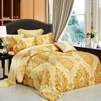 Luxury Gold Tribal Print Rococo Pattern Royal Style Baroque Style Western Themed 100% Mulberry Silk Full, Queen Size Bedding Sets