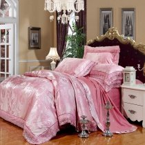 Girls Hot Pink Feather Pattern Girly Themed Luxury Lace Edge Jacquard Design Sequin Full, Queen Size Bedding Sets