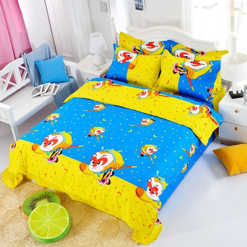 Blue Yellow and Orange Monkey King Havoc in Heaven Chinese Mythology Story All Cotton Twin, Full, Queen Size Bedding Sets for Boys and Girls